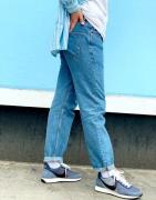 ASOS DESIGN - Lige crop-jeans i mid wash blue-Blå