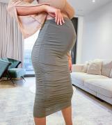 Missguided Maternity - Kakigrøn midinederdel med rynkede detaljer - Del af sæt
