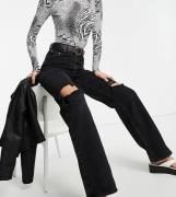 ASOS DESIGN Tall - Sorte højtaljede afslappede dad-jeans i sort vask med flænger