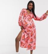 ASOS DESIGN - Maternity - Midikjole i satin med flæsehalsudskæring og ballonærmer i lyserød blomsterprint-Multifarvet