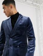 ASOS DESIGN - skinny mørkeblå dobbeltradet smoking-blazer i fløjl-Marineblå