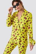 NA-KD Tied Sleeve Printed Blazer - Multicolor,Yellow