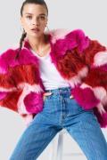 NA-KD Multi Colour Faux Fur Jacket - Pink,Multicolor