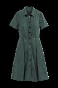 Stribet, halvlang skjortekjole med kort ærme
