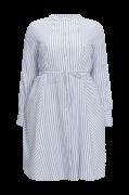 Stribet, halvlang kjole med rund hals og langt ærme