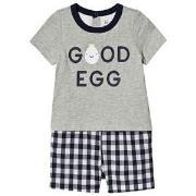 GAP Egg Romper Grey/Navy 0-3 mdr