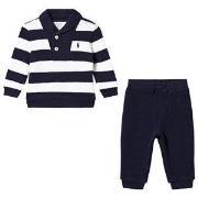 Ralph Lauren Navy and White Stripe Jersey Set 6 months