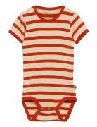 Stripe Ss Body Bodies Short-sleeved Rød Mini Rodini