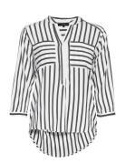 Vmerika Stripe 3/4 Shirt Top E10 Noos Bluse Langærmet Hvid Vero Moda